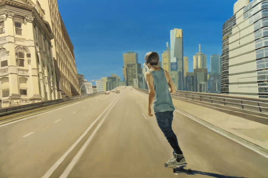 Expressway skater / oil on board / 81 x 121 cm / 2012 / Private Collection