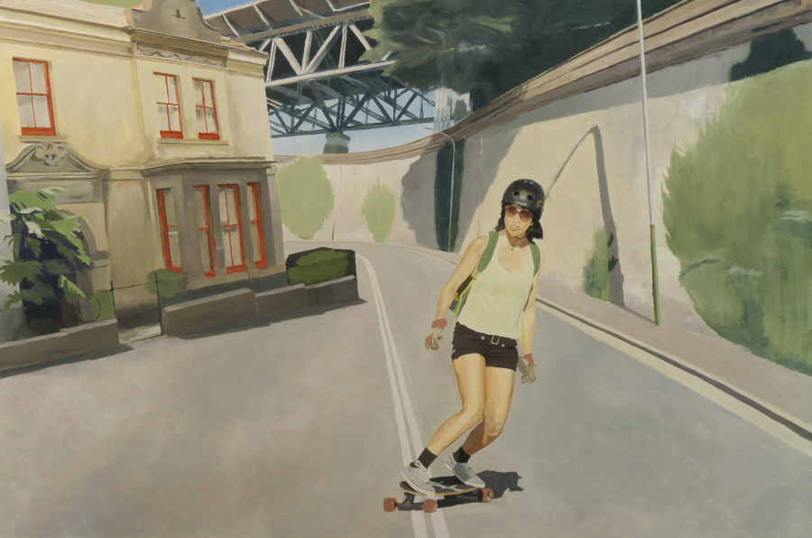 Skater girl / oil on board / 81 x 121 cm / 2012