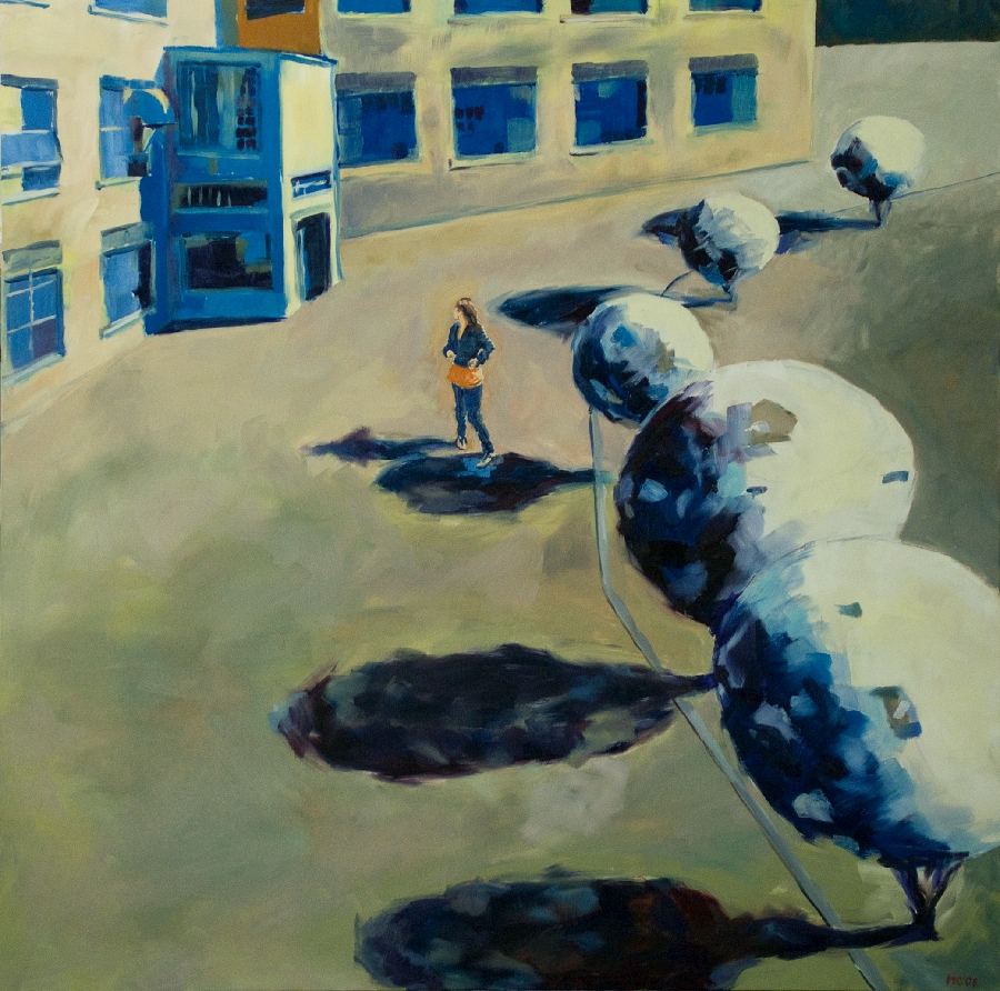 Urban park 1 (girl in drive) / oil on canvas / 133 x 133cm / 2008 / Private Collection