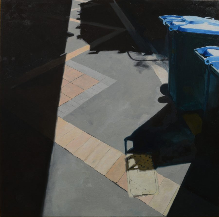 Blue Bins / oil on canvas / 71 x 71 cm / 2017