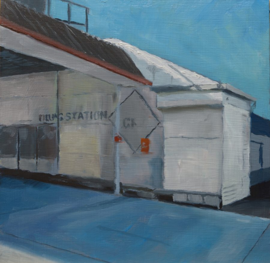 Filling Station / oil on aluminium / 20 x 20 cm / 2017