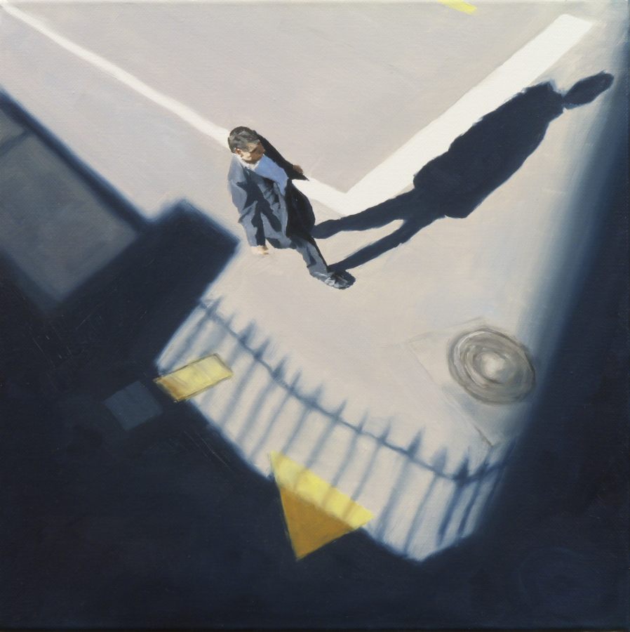 Man, shadow and railings / oil on board / 30 x 30 cm / 2012 / Private Collection