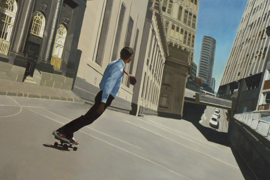 Skateboarder / oil on board / 81 x 122cm / 2011 / Wallace Arts Trust Collection