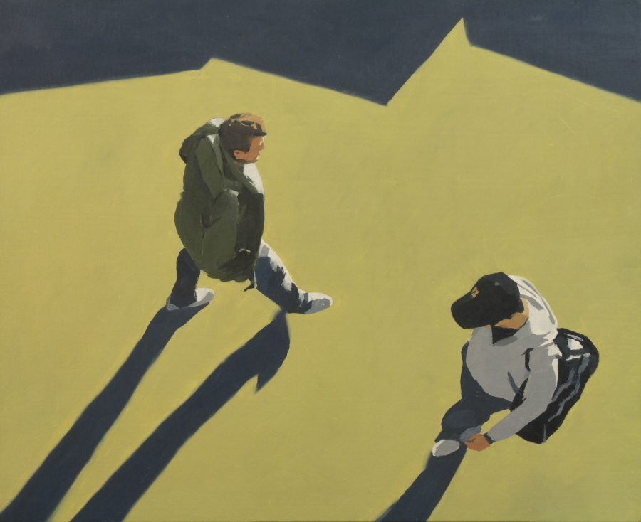 Two figures (yellow path) / oil on board / 49 x 60cm / 2010 / Private Collection