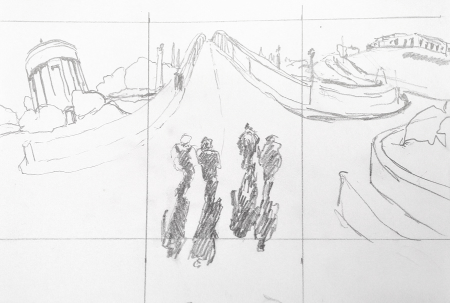 Preparatory drawing - all panels