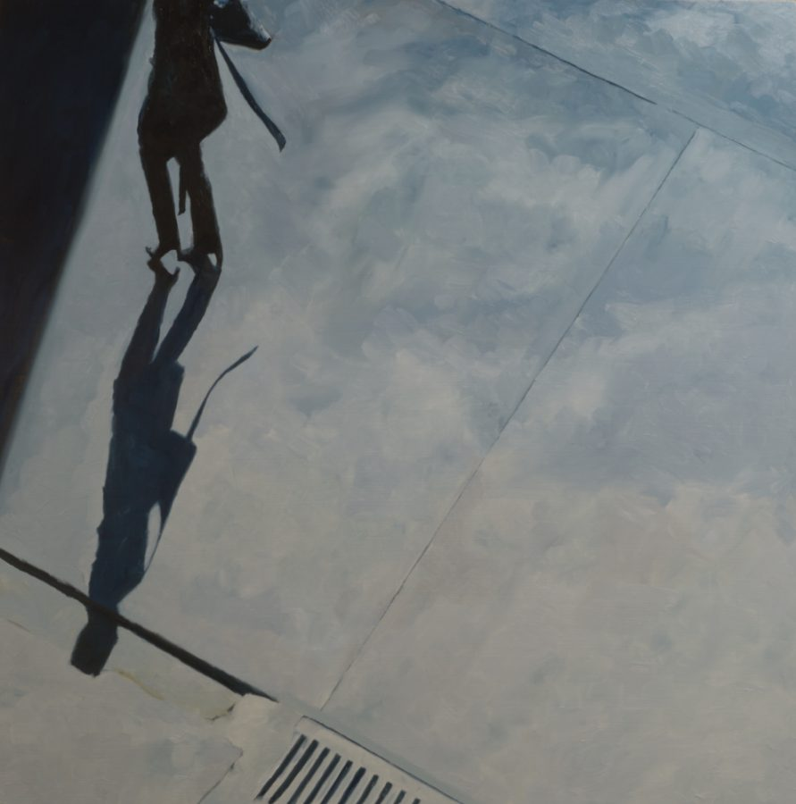 Girl with belt walking into shadow / oil on board / 80 x 80 cm / 2017