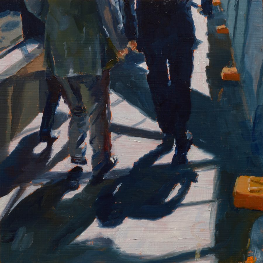 Albert Street suited men / oil on board / 18 x 18 cm / 2017 / Private collection