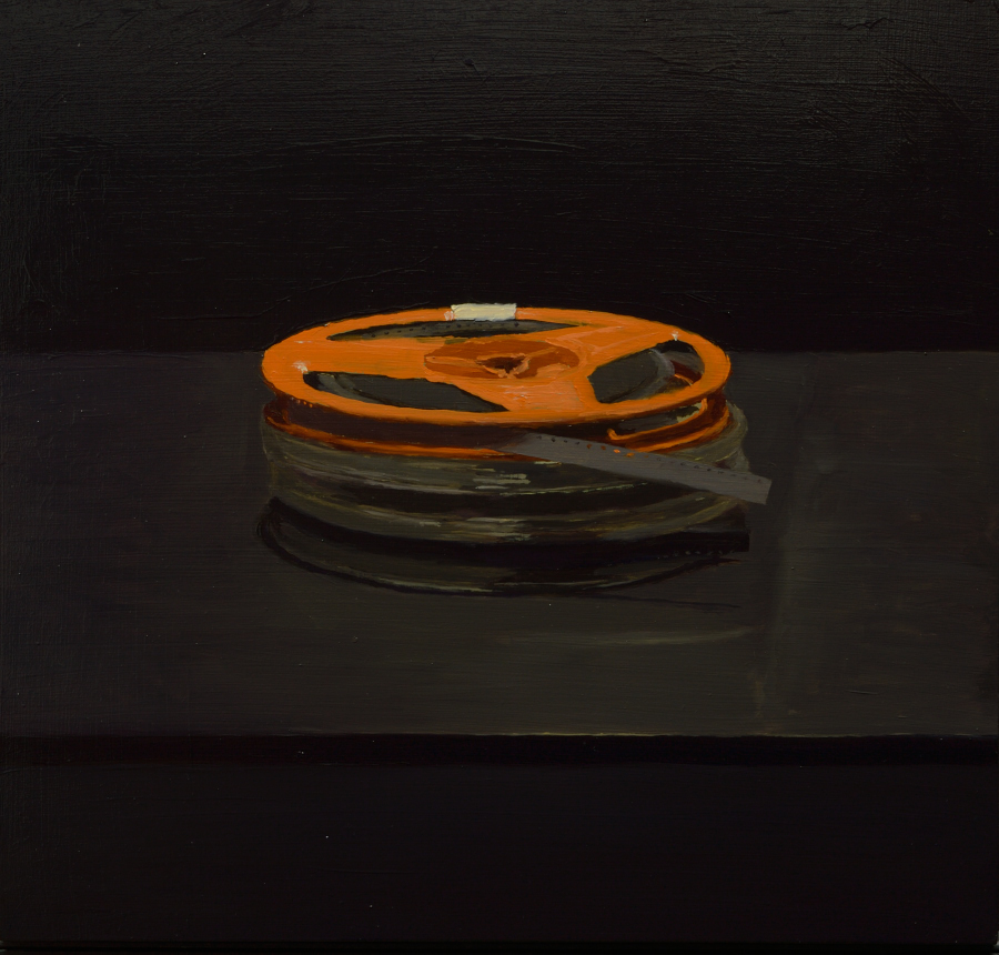 Super 8 film reels / oil on board / 40 x 40 cm